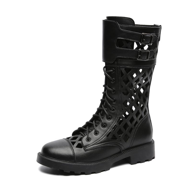 botas de hebilla de correa de cuero genuino inferiores gruesas botas de punta redonda mujer popular con cordones botas transpirable mujer hueco-hacia fuera los zapatos de Roma