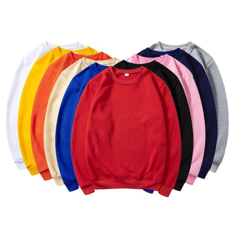 الصلبة اللون DIY طباعة البلوز رجل / إمرأة O-الرقبة تخصيص شعار طباعة عرق القميص صورة النص الشخصية للجنسين زوجين القماش