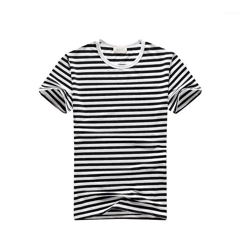Casual progettista manica corta magliette girocollo Homme Tees Pullover Slim Fit maglietta Stripe Mens Estate