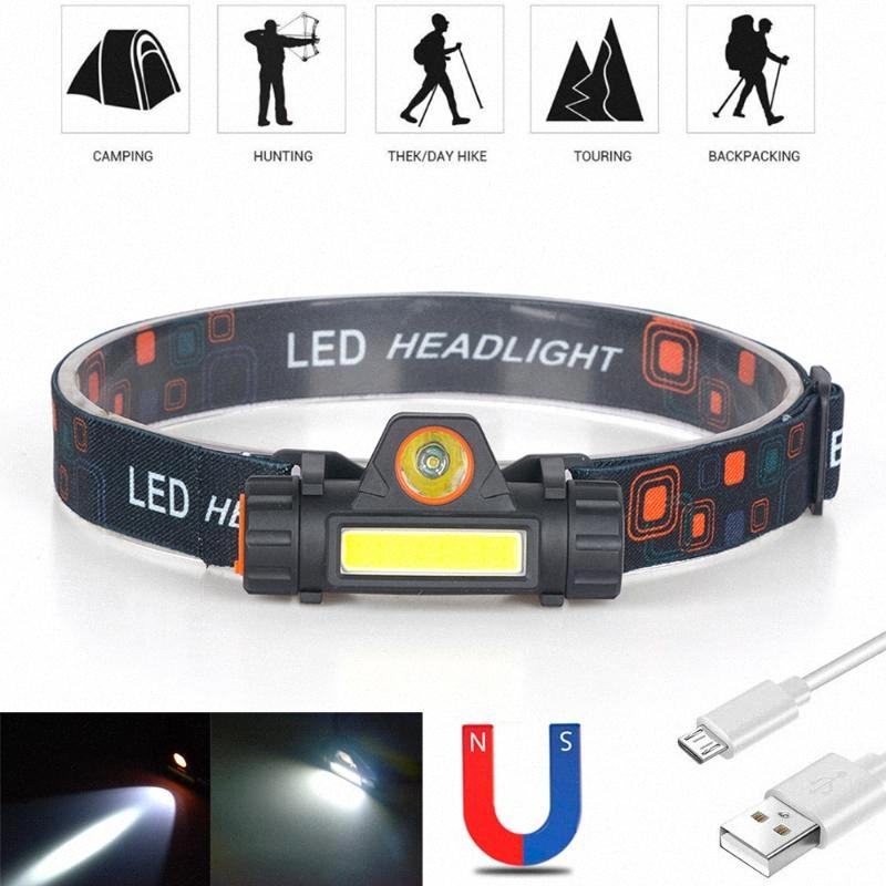 Waterproof LED Headlamp COB Work Light 2 Light Mode With Magnet Headlight Built In 18650 Battery Suit For Fishing, Camping 7CdK#