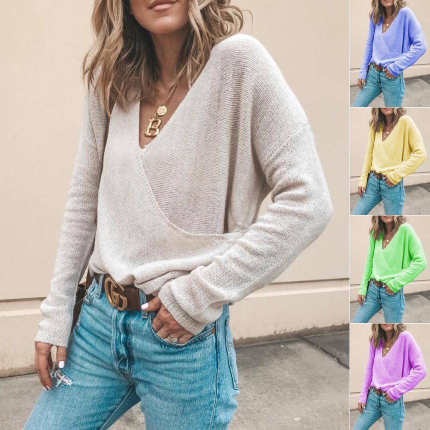 5 컬러 S-5XL 여자 V 넥 니트 점퍼 워프 캐주얼 일반 숙녀 긴 소매 풀오버 느슨한 스웨터 블라우스 62253943694276 탑