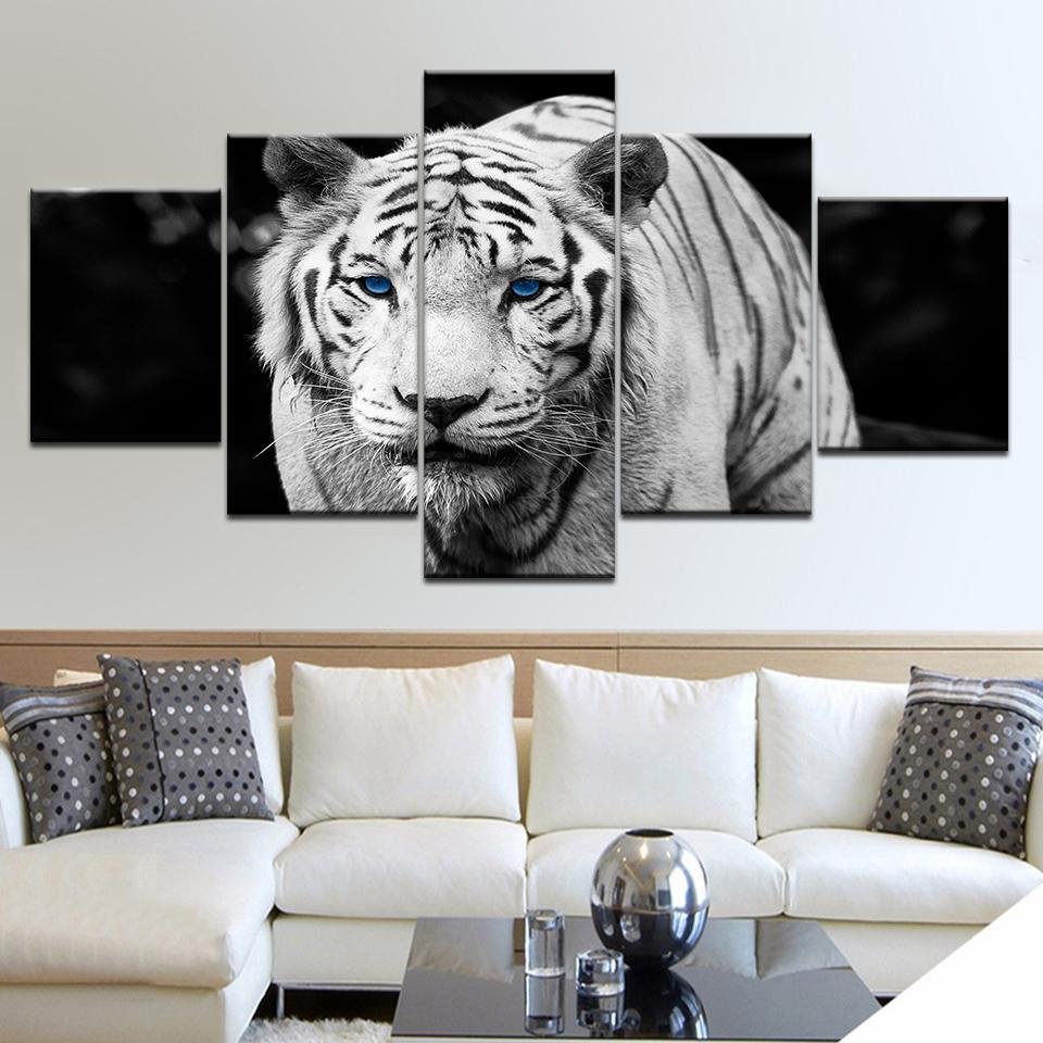 Wall Art HD Prints Immagini Framework 5 Pezzo Blue Eyes modulari Dipinti su tela Tiger per la casa in bianco e nero degli animali poster