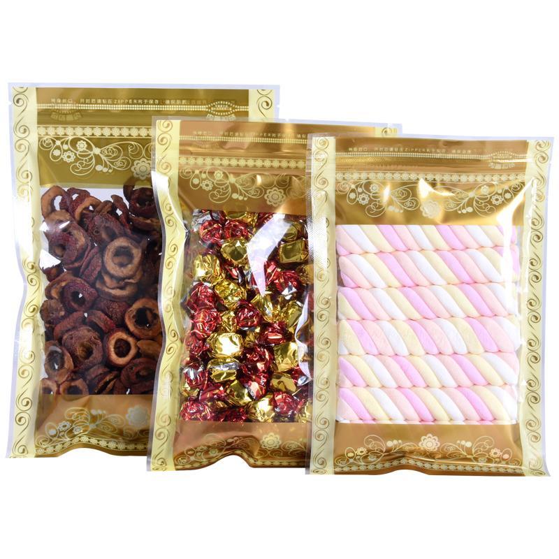 7 Taille Emballage plat Couleur Imprimé sac en plastique Feuille d'or haut Effacer la fenêtre en plastique refermable auto Pouch LX1926