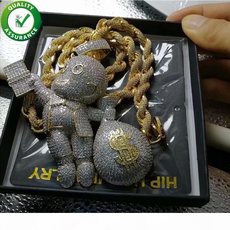 Designer Colar Mens para fora congelado Hip Hop Cadeia Pingentes Luxury Jewelry Moda Hiphop Bling diamante Mario Ouro Cadeia Rope cubana Fazer a ligação Rapper