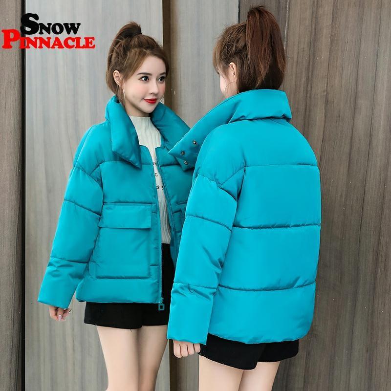 Mulheres do inverno Parkas 2020 ocasional sólidos quentes engrossar casacos acolchoados casaco quente Feminino colar bolso grande outwear jaqueta de neve