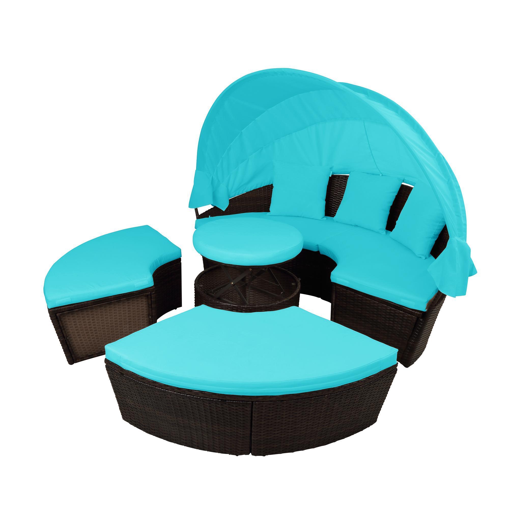 США STOCK Патио Мебель Круглый Открытый Секционные диван Ротанг Daybed солярия с выдвижным Навес Высота Adjust SH000086AAC