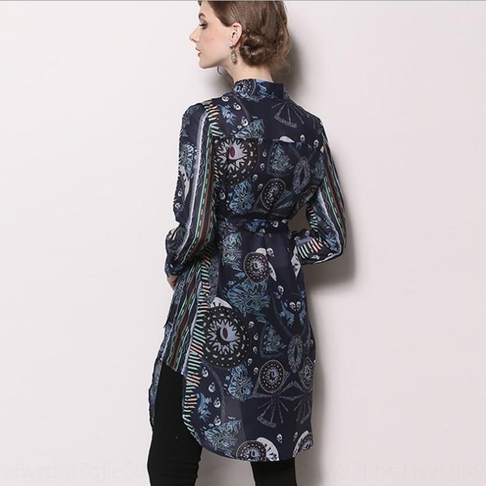 wCB6T 7hbA1 Autumn new women's long sleeve shirt shirt stand collar lace-up printed chiffon irregular