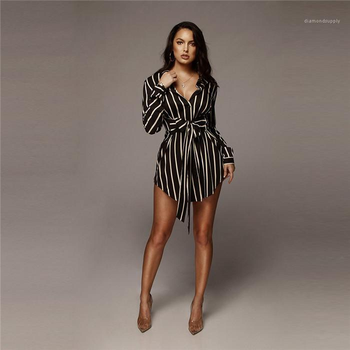 Sommer A-line-Revers-Ansatz lange Hülsen-reizvolle Kleider Frauen Mode Kleidung Frauen Striped Bogen-Hemd-Kleid Frau