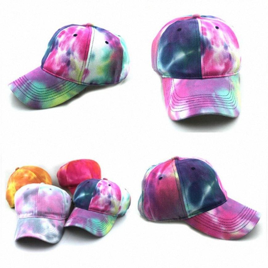 Tie-tinto Cappellino cotone cappelli di sport cappello di Sun Colorful camionista Cappello Donne all'aperto progettista modo delle ragazze tappo HHA1464 HhR2 #