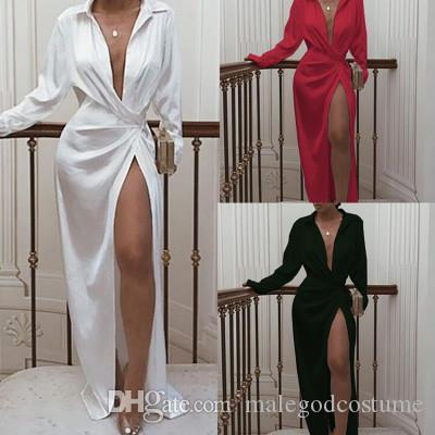 Summer&Autumn Women Solid Sexy Dresses V-neck Long Sleeve High Waist Casual Dresses for Womens Lapel Neck Split Night Club Party Long Skirt