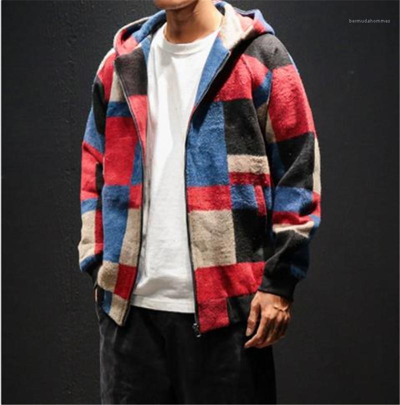 Argyle сетки Street Casual куртки Весна длинным рукавом нагрудные Шея Тонкий Мужчины Одежда Мужчины куртка Дизайнер