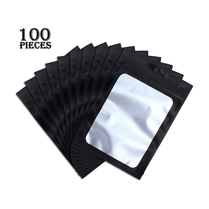 Free Shipping Smell Proof Odorless Mylar Resealable Foil Pouch Bags with clear Window matte black Food Safe Airtight