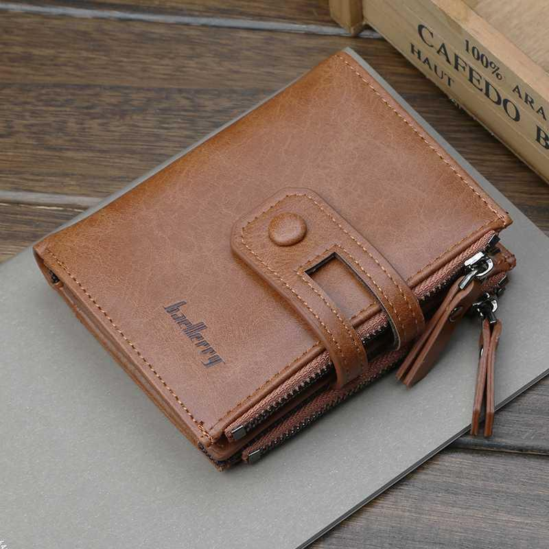 Short men wallets more than double zipper multi-functional wallet style restoring ancient ways for zero wallet
