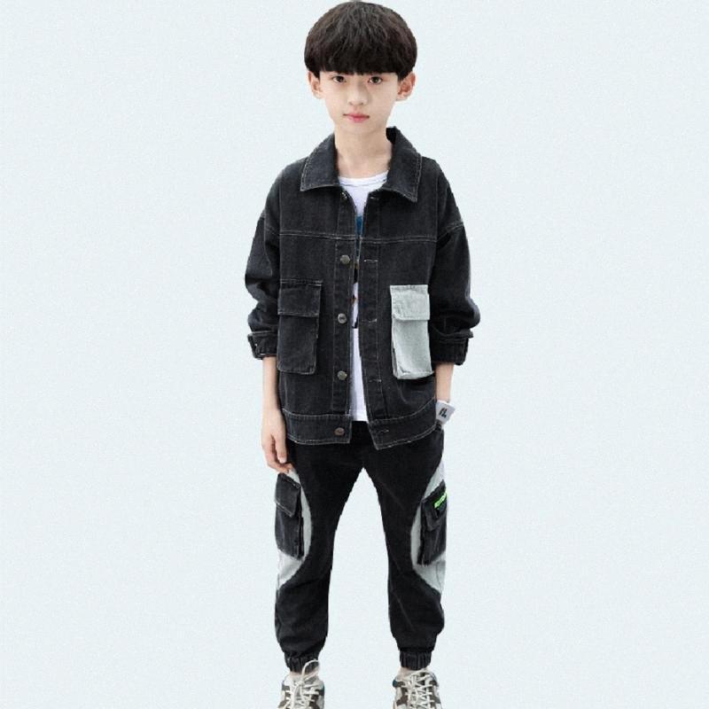 Meninos adolescentes Vestuário Patchwork Vestuário para meninos Carta Boy Set Casual Crianças Estilo 6 8 10 12 14 K4zn #