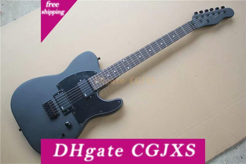 Factory Custom Matte Black Body Electric Guitar With Signature ,Rosewood Fingerboard ,Black Pickguard ,2 Pickups ,Can Be Customized