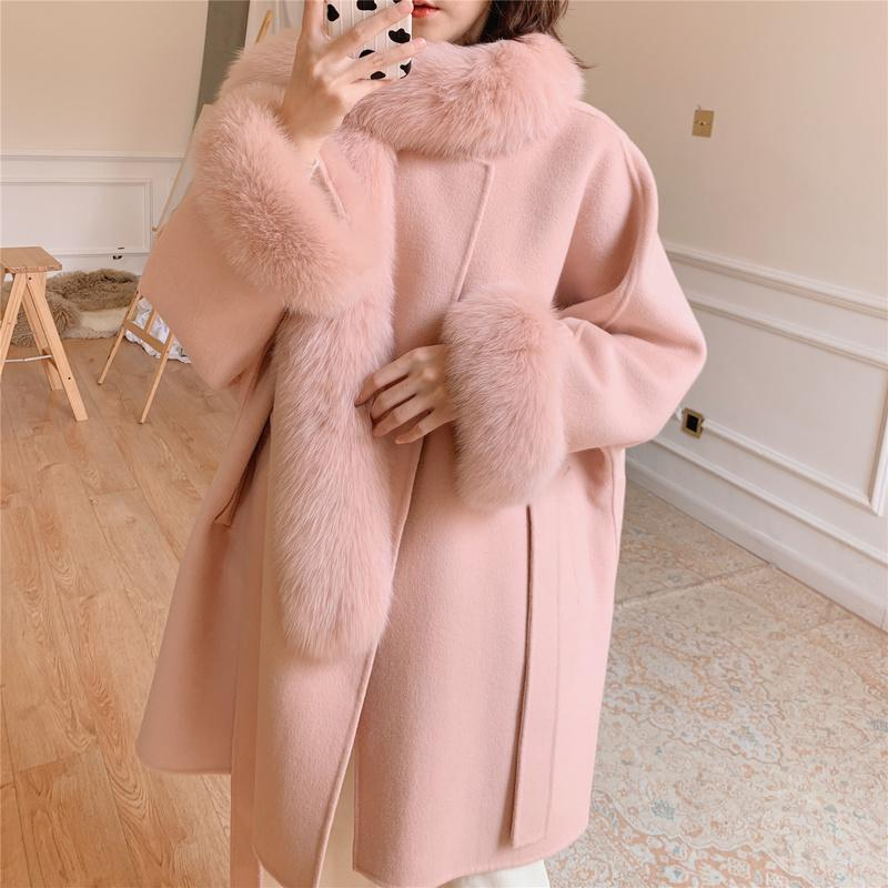Real Fur Coat Women Wool Jacket Autumn Winter Coat Women Clothes 2020 Real Fur Korean Cashmere Woolen Overcoat 930.103YY1818