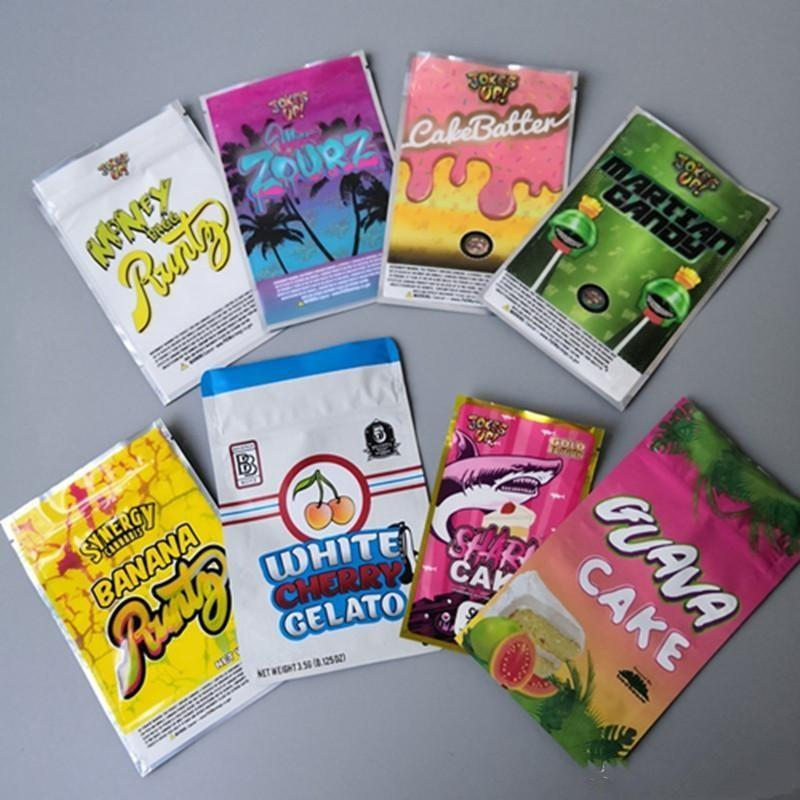 Runtz Martian Shark Zourz Bagg Cakebatter Candy Mylar i soldi di Borse di fiori Sharklato Herb Joke Packaging Edition torta Miami Dry Go APIsac