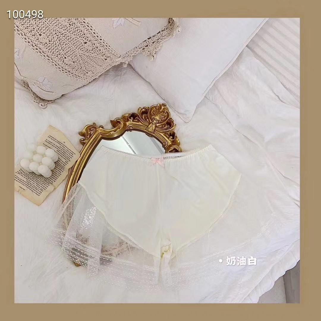 encaje estilo Hada Seguridad Yg0wA pantalones UDiQY protección contra la intemperie blanco lechoso de seda de hielo cordón grande pantalones de la seguridad de las mujeres del verano con polainas