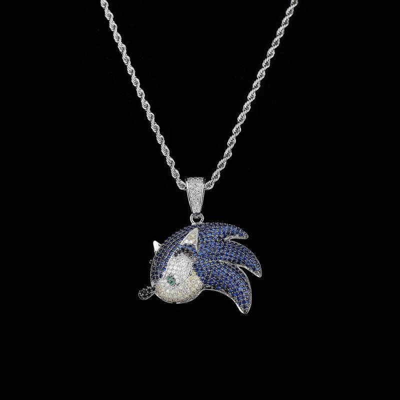 Zircon Hip Hop Necklace Flying Fish Pendant Accessories Fashion Color Diamond Necklace For Men Women Jewelry