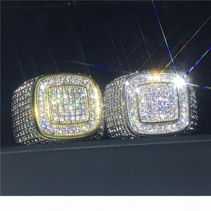 Vecalon Handmade Male Ring 925 Sterling Silber pflastern Einstellung 275pcs 5A Cz-Partei-Hochzeit Bandringe für Männer Felsen Hiphop Schmuck