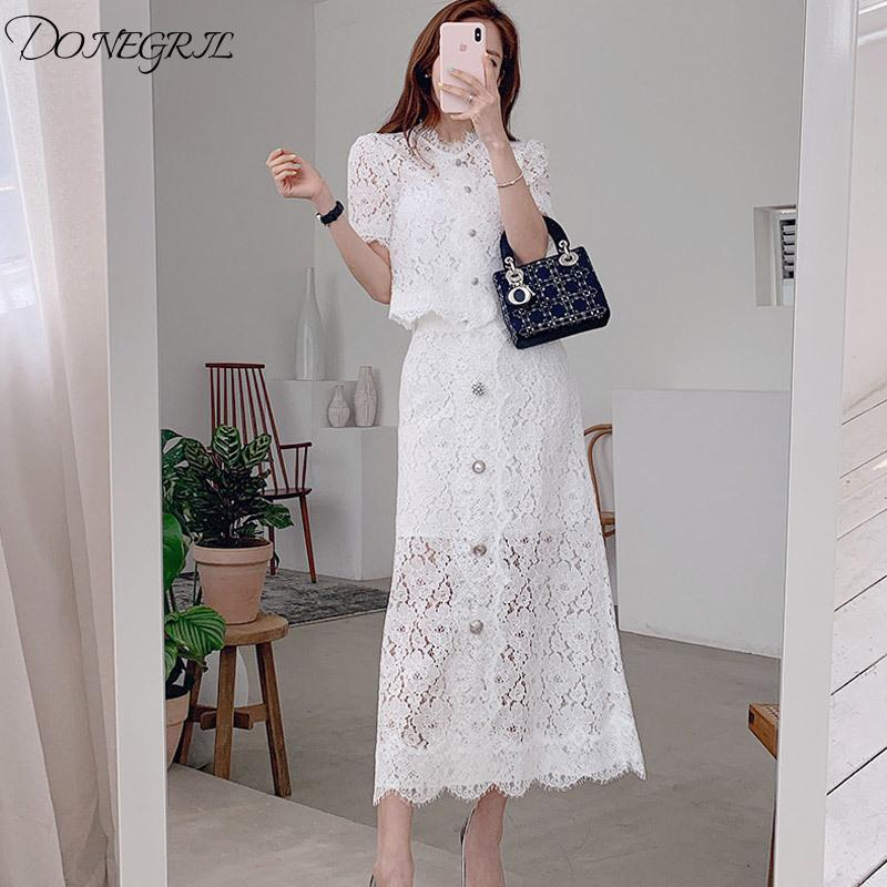 Tute da donna 2021 Summer a maniche corte in pizzo a maniche corte in pizzo a due pezzi Top monopetto Top + Moda Donne Mid-Calf Skirt Set