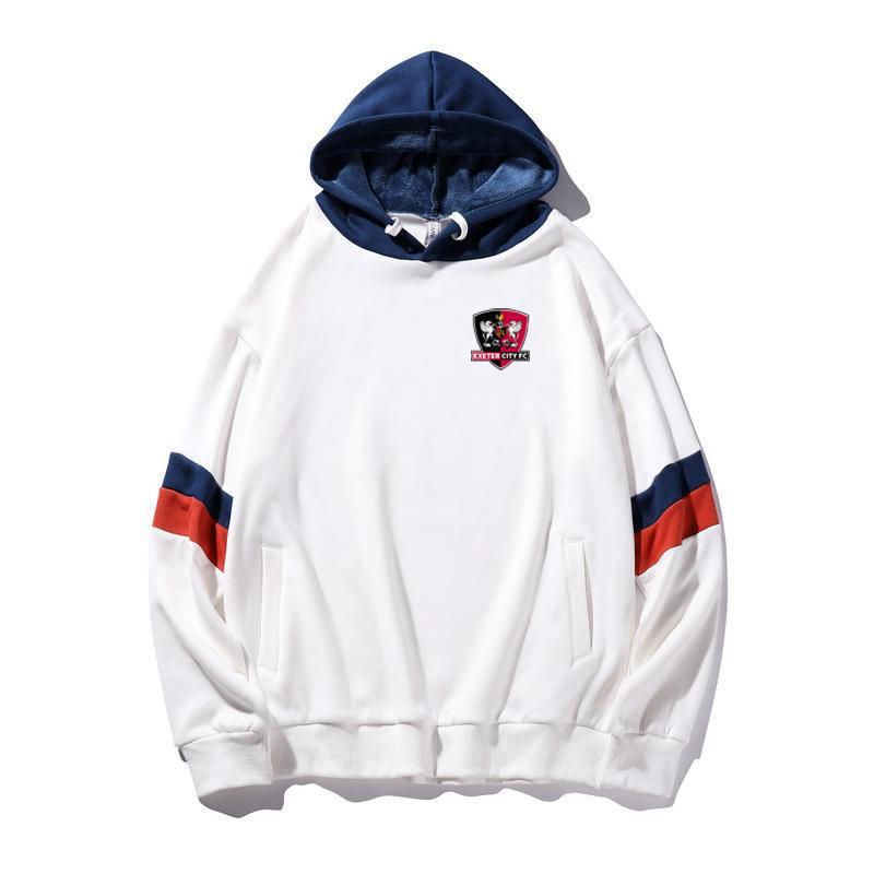 exeter Stadt neuer Herbst und Winter Vernähen Hoodiestrickjacke Jacke Pullover Outdoor-Sportbekleidung lose Kapuzenjacke Fußballsport Hip-Hop