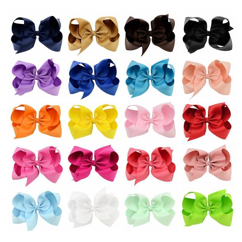 Grande arcos de cabelo das meninas da forma 20pcs / Lot 6inch Cabelo Acessórios Cabelo Clip Boutique Arcos Grampos Hairgrip Grosgrain Ribbon Bows