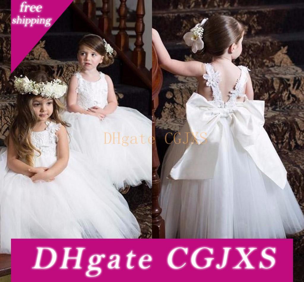 2019 niña de las flores blanco de vestidos de la comunión lindo vestidos del desfile de los vestidos para las niñas barato del cordón con el nuevo Diseñado Apliques correas