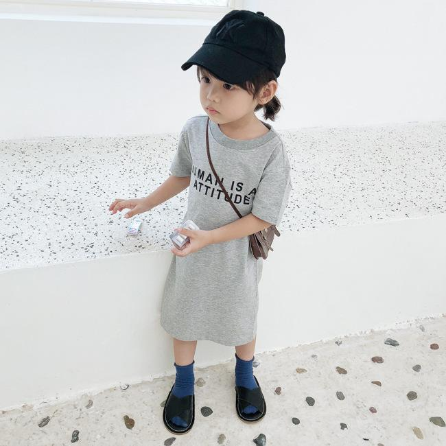 Korean style baby girls letters printed long T shirt dresses kids cotton casual clothes fashion children Backless Straight dress