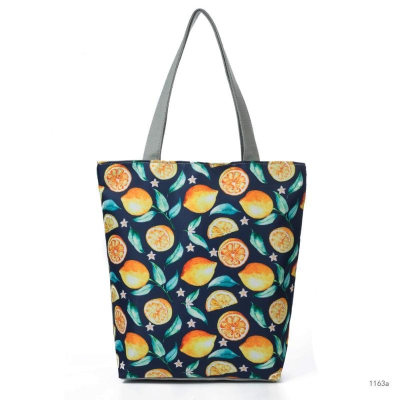 Sacs de fruits empreintes Sacs à main Toile à feuilles d'épaule Sac Femmes Sacs à main à l'épaule 2020 Mesdames Sac Style Imust