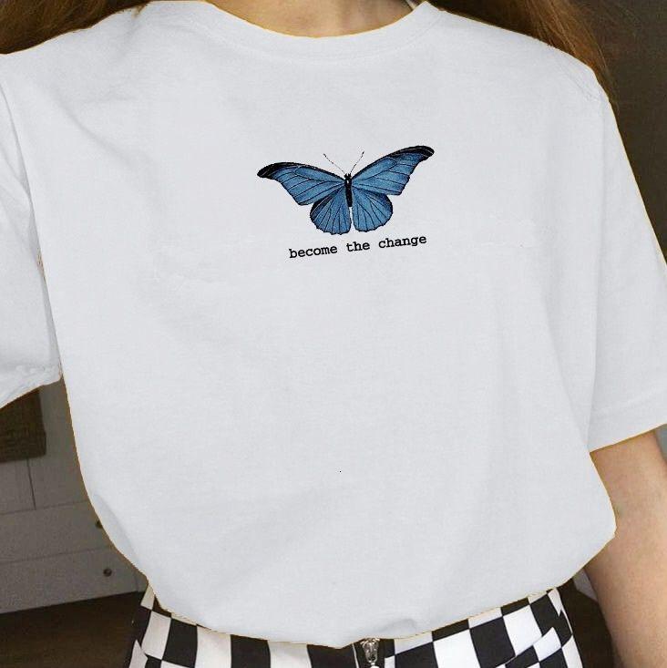 kuakuayu HJN Torne-se borboleta O Mulheres da Mudança Imprimir Verão bonito estética inspirada das citações T-shirt