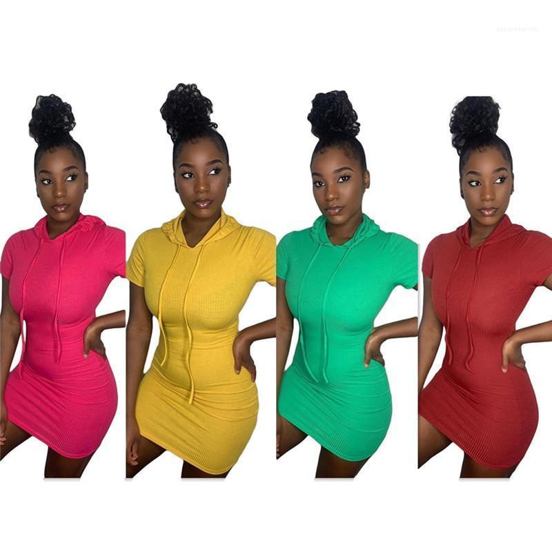 Femmes Womens Casual Robes sexy Robes moulantes Skinny couleur unie rayé à manches courtes Robes Vêtements Pour