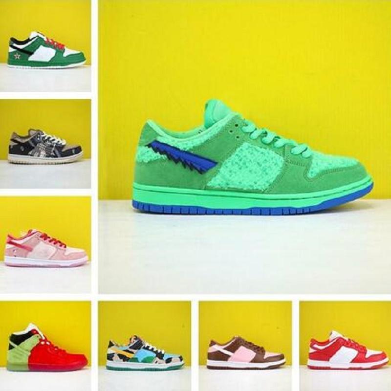 Livre Meias nova barato baixos homens QS Correndo Sports Shoes Chunky Dunky Safari Sneakers noite de Malícia Pine sapatos verde Skateboarding