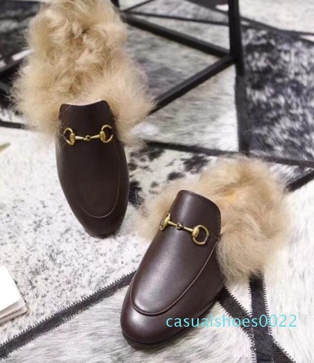 Kadınlar Terlik Flats Tavşan saç Kürk Terlik Slaytlar Katır ayakkabı kadın erkek Rahat C22 açık bayanlar erkekler Günlük Ayakkabılar Kadınlar erkekler