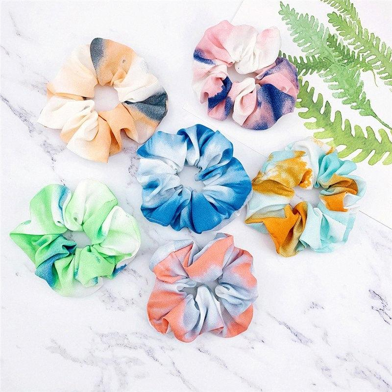 Abbindgefärbten Frauen Mädchen Scrunchies IN Kreis Farbverlauf Haarbänder elestic Gummi-Haar-Seil-Haar-Halter Scrunchy Haarschmuck D36 BQuY #