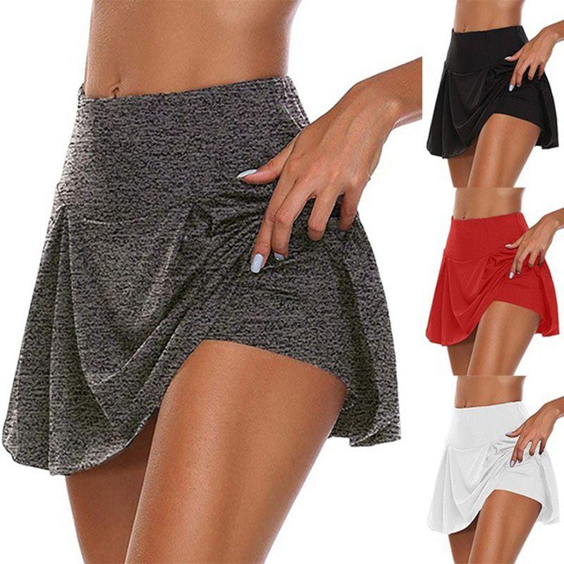 2020 Nuovo Donne Sport Atletica minigonna Yoga Shorts Pieghe Tennis Golf Gonna allenamento Anti-svuotato 2 in 1 Biker Shorts