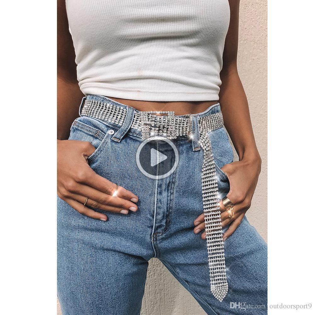 nuove signore CASL all'aperto cinghia di cristallo brillante materiale dell'unità di elaborazione della cinghia di modo 120 centimetri cinghia delle donne lunga donna tutti i giorni
