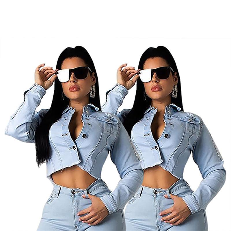 Women plus size Jackets denim backless crop top summer clothing jacket button fly coat cardigan lapel neck running fashion hot selling 0012
