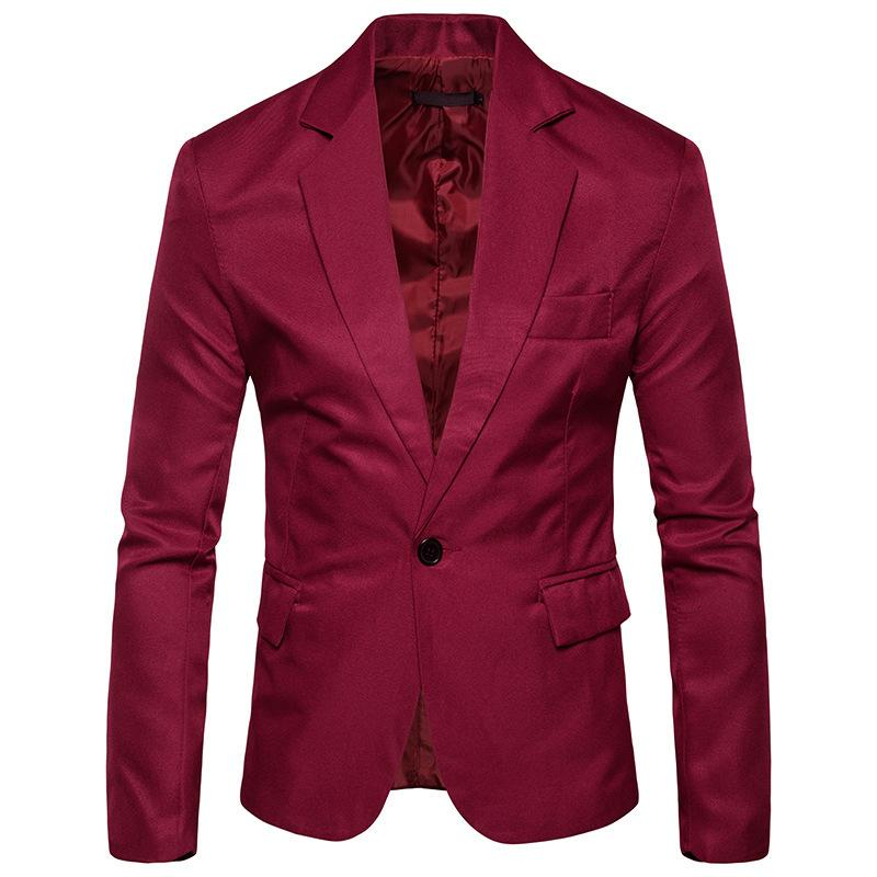 Automne Slim Casual Blazer mince Hommes Top Slim Fit manches longues Blazers Rouge Mode Coton Homme Costume Party Costumes d'affaires Taille Plus