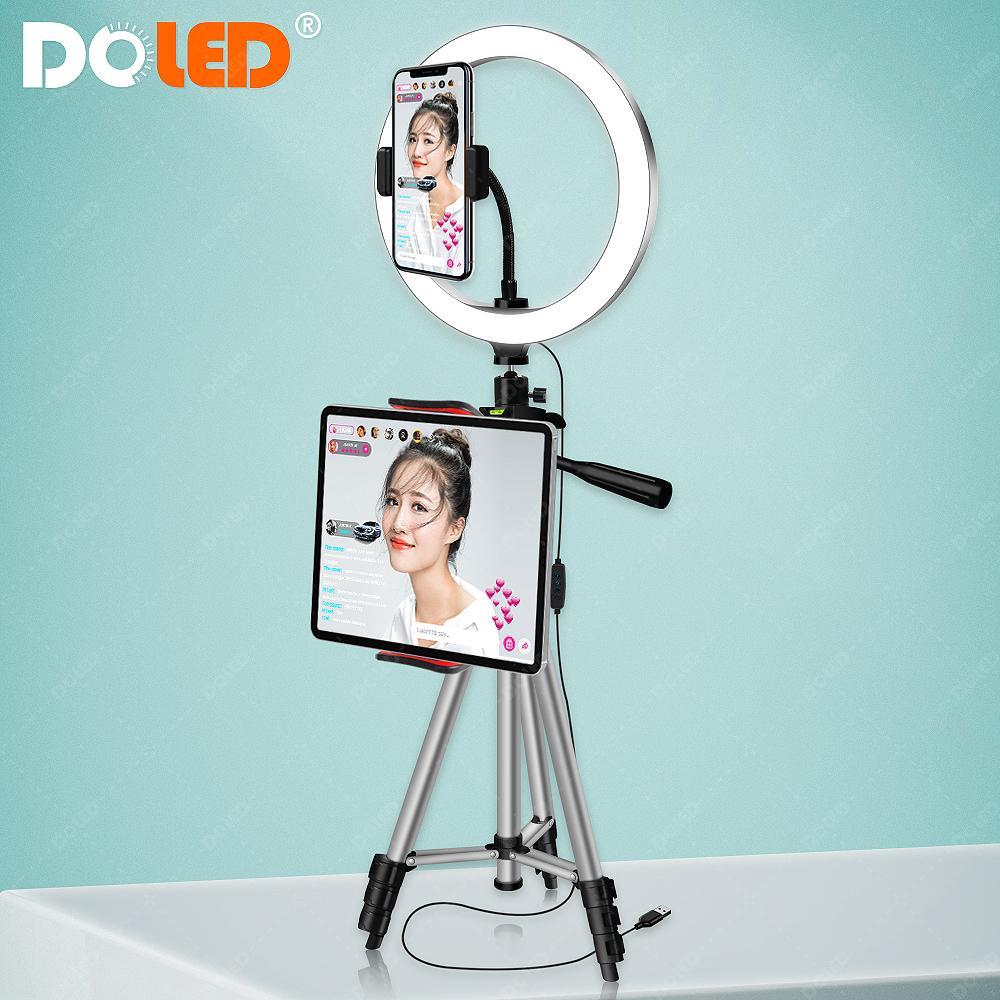 Doled 26cm LED anel luz com tripé para tablet telefônico tomando selfie vídeo em tiktok youtube foto stuido iluminação fotográfica lj200904