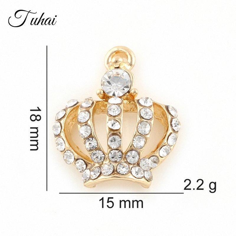 10pcs hueco cristalinos de la corona encanta los colgantes para pulseras pendientes de la joyería de DIY que hace 2 colores aleación de accesorios hechos a mano OvQC #