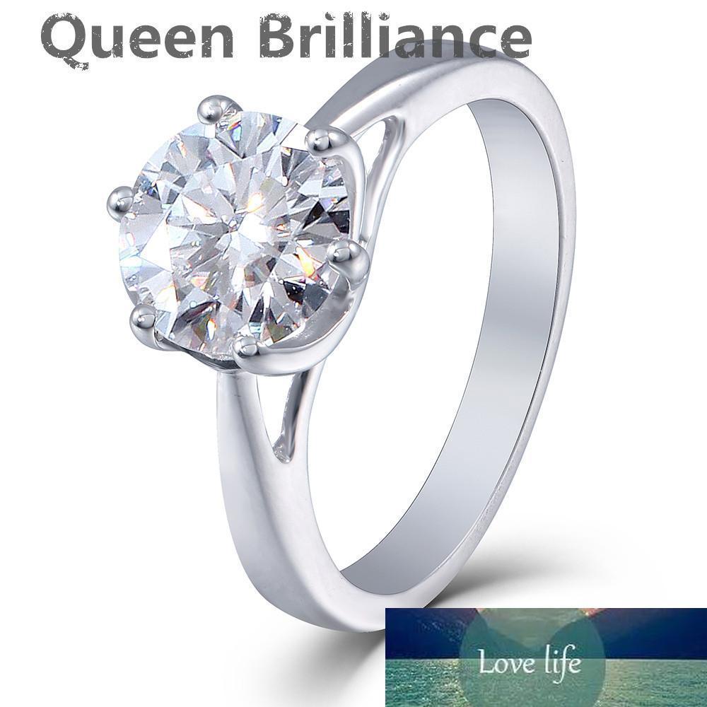 Queen Brilliance 2ct Lab Grown Муассанит бриллиантовое обручальное кольцо Свадьба Женщины платиновым покрытием 925 Sterling Silver Fine Jewerly q171026