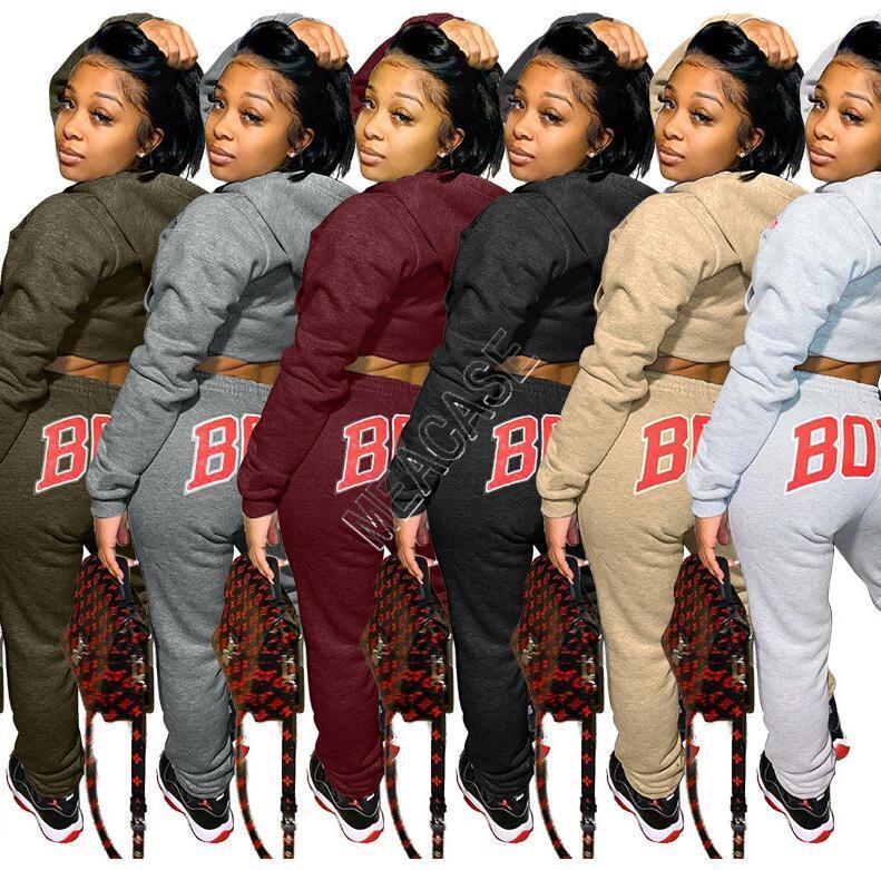 Kadınlar Eşofman Vücut Mektupları Uzun Kollu T Shirt Tozluklar İki Adet Kıyafet Spor Suit D92302 En Kapşonlu Triko Polar Pantolon kırpma