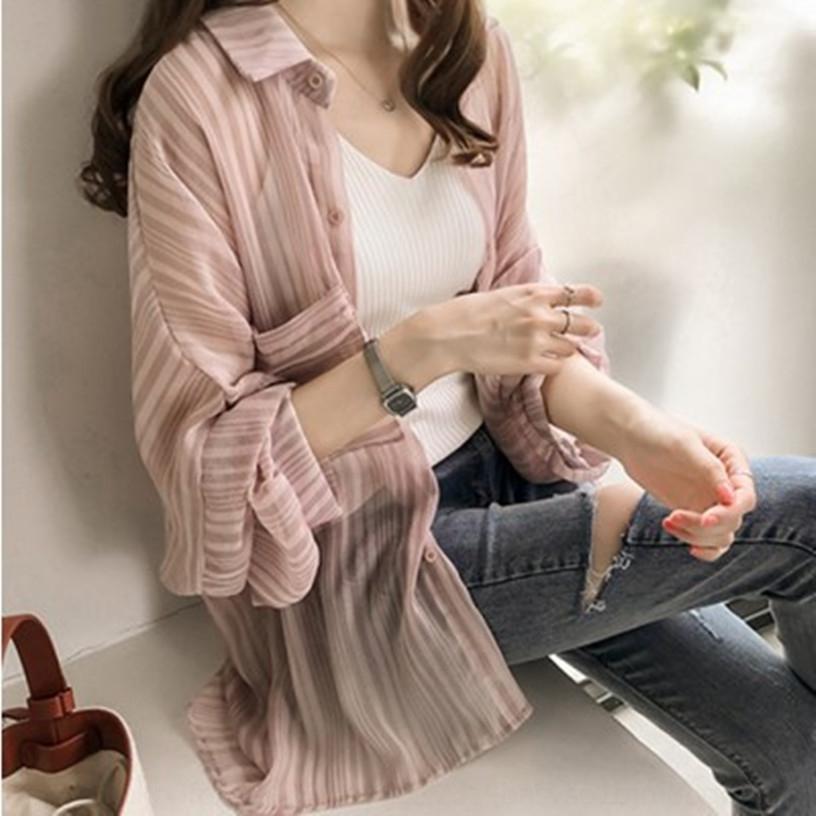 pBgwE U5TwG с длинными рукавами новой одежды Корейский стиль пальто солнцезащитный крем одежды свободный бф полосатые рубашки шифон студент clothin пальто модный солнцезащитный крем