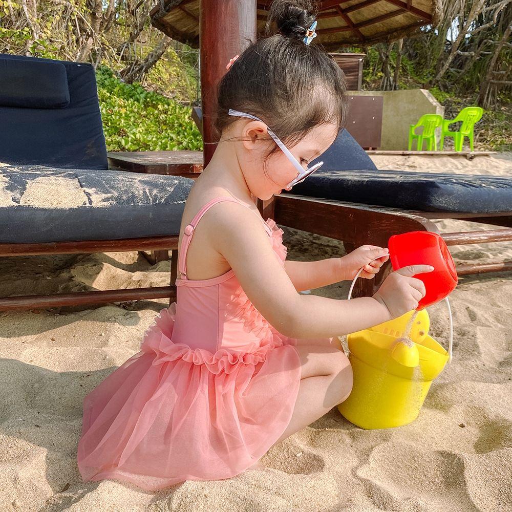 96doX u1H4z 2020 Verão novo ins das crianças de uma peça meninas rosa Lace' malha estilo princesa maiô rendas maiô