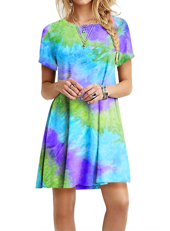 MQhe4 5oYit 2020 slim-fit colorido impresso slim-fit vestido colorido tie-dye novas Verão das mulheres tingido 2020 novo vestido de verão das mulheres impresso