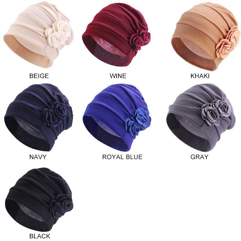 Chemo Hat Turban Hair Caps Women Floral Headwear Beanies Hiar Loss Cap Ladies Bandana Muslim Head Cover Styling Tool