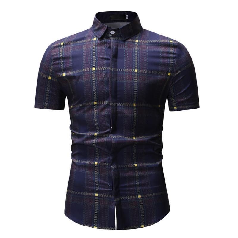 2020 Camisa Havaiana Homens Primavera Inverno Moda Impresso Casual manga curta slim Shirts Tops Blusa Mens Shirts Casual Slim Fit 5