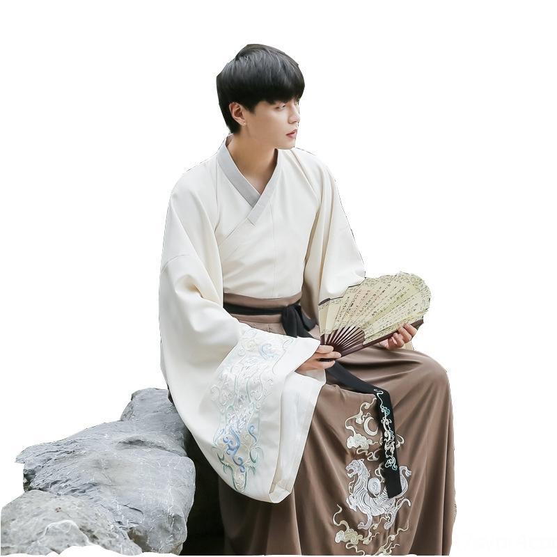 7Lzkx style chinois de grande taille couple de vêtements chinois costume costume chemise antique hommes brodé grande cravate grande chemise à manches cros femmes