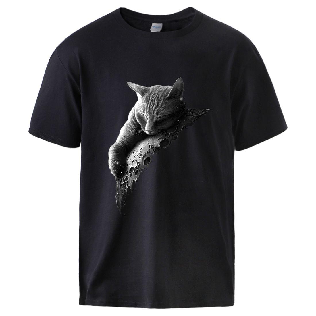 Tops gatos de Homens Impresso Summer manga curta Algodão Streetwear Camisetas de forma masculino soltas Casual Workout Crewneck preto Tees